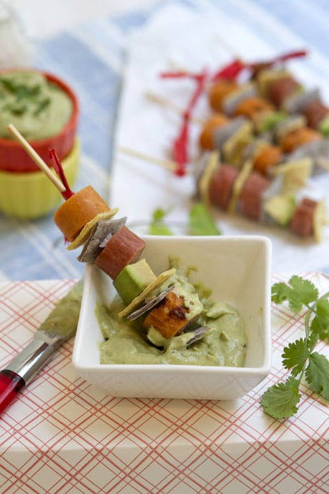Avocado: Grilled Hot Dog Skewers With Creamy Avocado Dip
