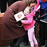 We can't get enough of this sweet photo! Kate Middleton likely made 3-year-old Nancy Williams's day when she gave her a big hug at the Alder Hey Children's Hospital in England in February 2012.