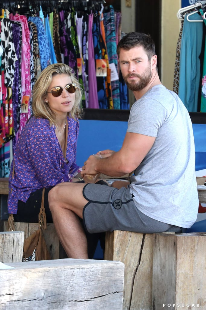 Chris Hemsworth and Elsa Pataky were spotted enjoying lunch together on Currumbin Beach in the actor's native Australia on Saturday afternoon. Chris, who is currently in town filming Thor: Ragnarok, kept things casual in a gray t-shirt and matching shorts, while Elsa did the same in a flowing purple top and black pants. While the movie isn't set to hit theaters until July 28, 2017, more details and casting news regarding the third Thor installment are being released. Not only is Chris reprising his role as the Norse god, but Tom Hiddleston — who is also Down Under with girlfriend Taylor Swift — is returning as Loki. Read on to see more of Elsa and Chris's cute lunch date, then flip through their best moments together.