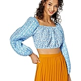 C/Meo Collective Come Across Puff Sleeve Fashion Crop Top
