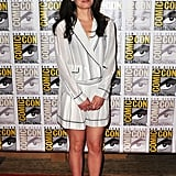 Elizabeth Reaser wore a printed short suit with strappy heels to the Breaking Dawn Part 2 panel.