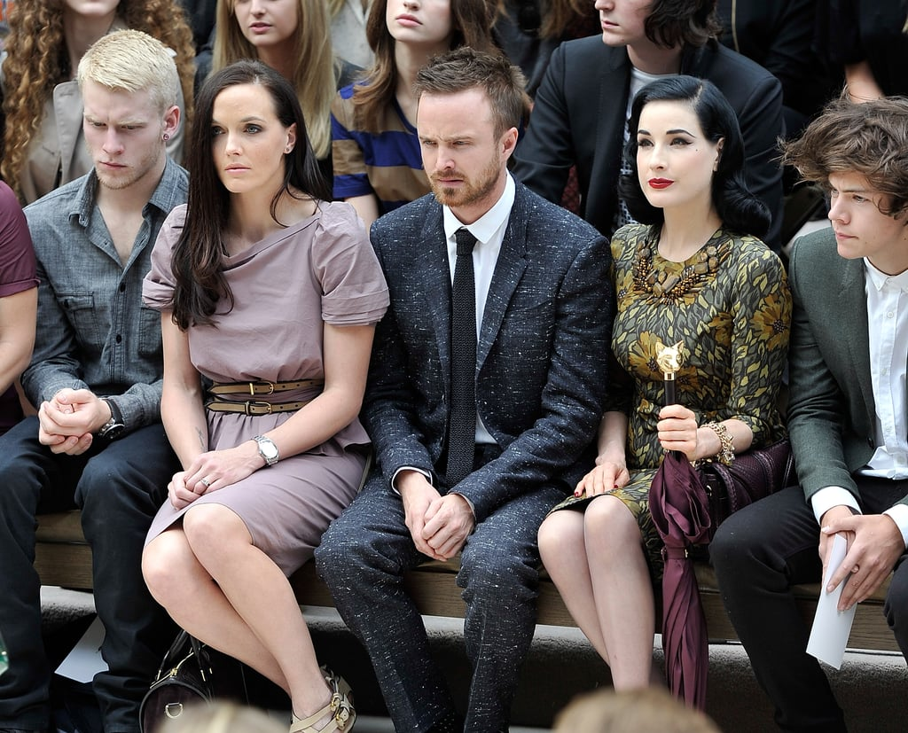 Jonnie Peacock, Victoria Pendleton, Aaron Paul, Dita Von Teese and Harry Styles at Burberry
