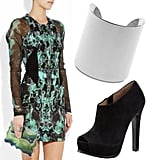 Dressy: Make a statement in a printed dress; remember to accompany the look with simple accessories.  Dion Lee Print Dress ($1,410), MICHAEL Michael Kors Silver Cuff ($125), Pour la Victoire Peep-Toe Platform Bootie ($300)