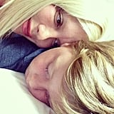 Tori Spelling snuggled with a sleeping Liam on his birthday. Source: Instagram user torianddean