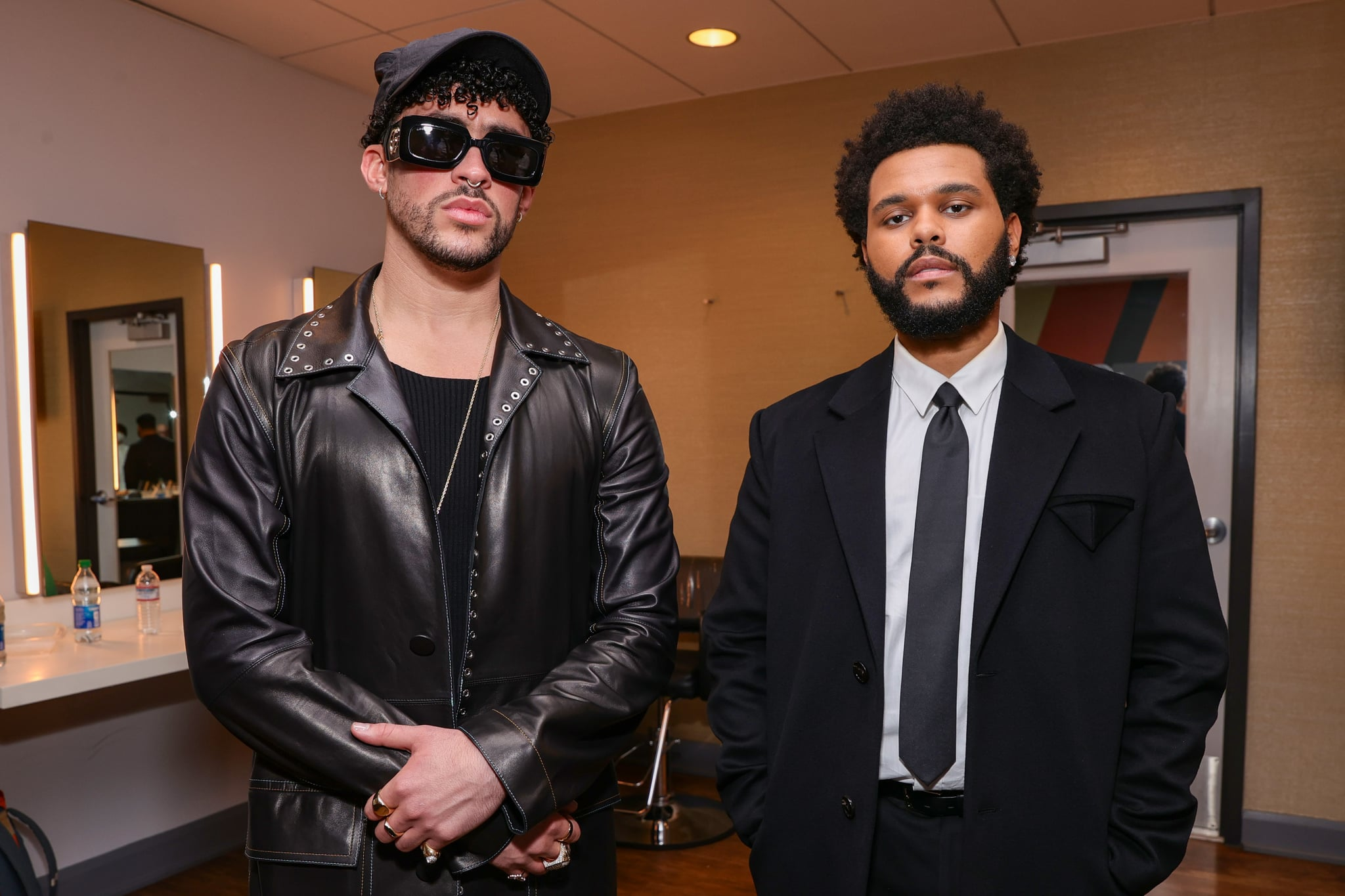 LOS ANGELES, CALIFORNIA - MAY 23: Bad Bunny and The Weeknd pose backstage for the 2021 Billboard Music Awards, broadcast on May 23, 2021 at Microsoft Theatre in Los Angeles, California. (Photo by Rich Fury/Getty Images for dcp)