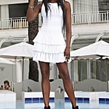 It was more white this week from Naomi Campbell, who picked a tiered mini to promote The Face.