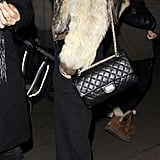 Kate Moss rocked fur at dinner.