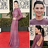 Julianna Margulies looked elegant in a shimmery form-fitting purple gown by Naeem Khan at the Golden Globes.
