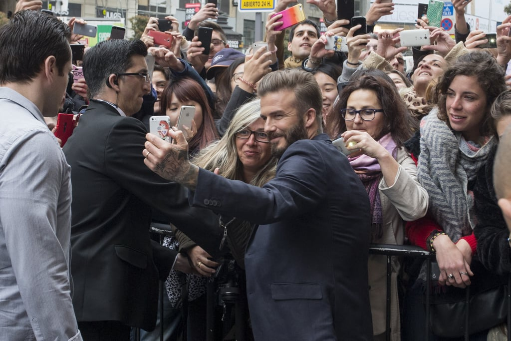 David Beckham grabbed a fan's phone in Madrid in March 2015.