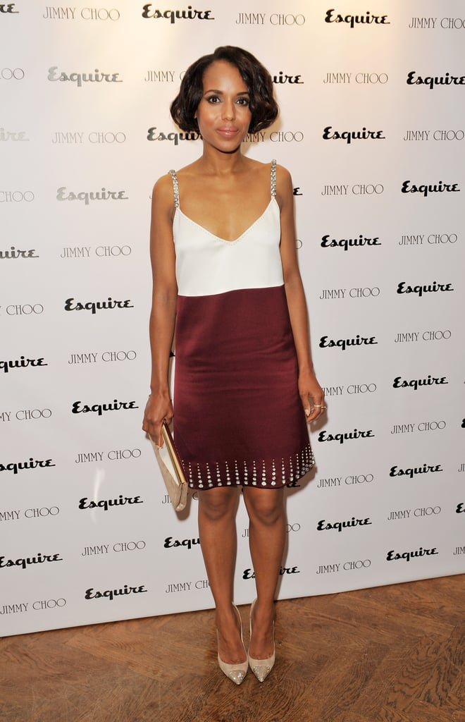 We can't get enough of Kerry Washington's polished glamour — this time in a two-tone tank dress at an event in London.