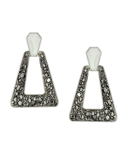 Palladium Plated Nugget and Ivory Epox Earrings ($38)