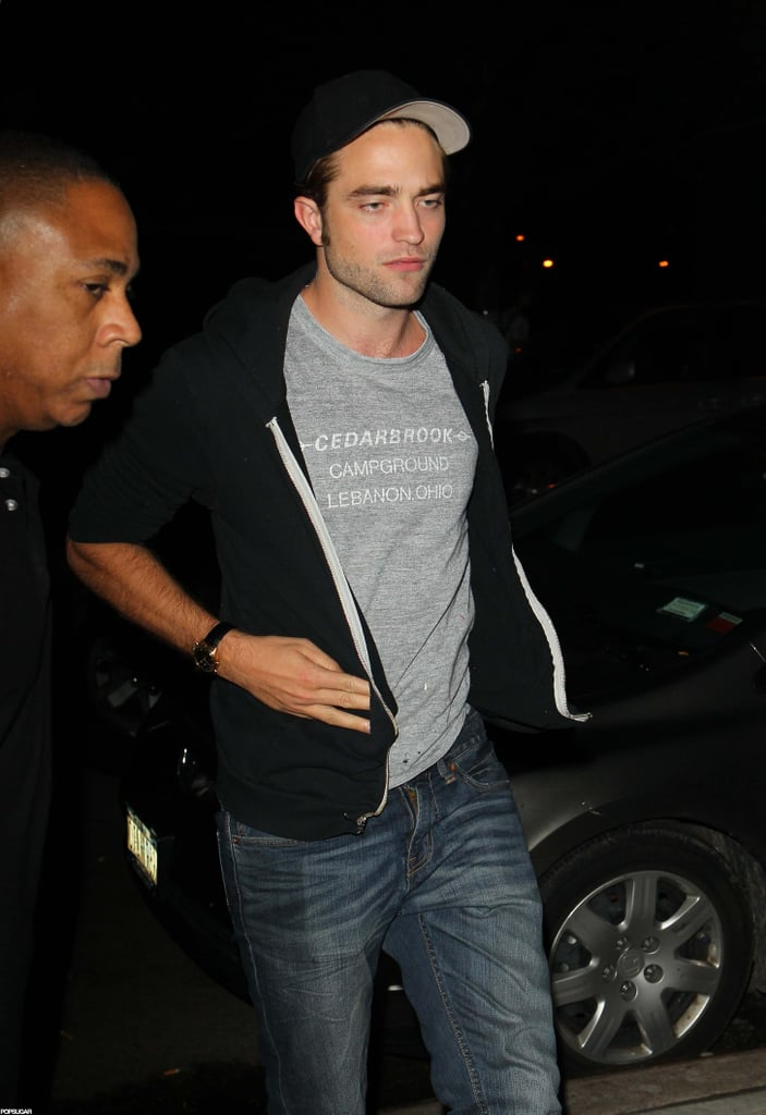 Robert Pattinson wore a gray teeshirt out in NYC.