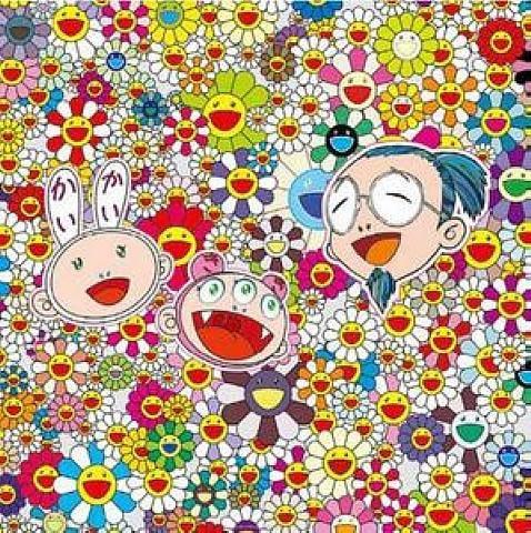 It's by Takashi Murakami. Find artwork by Murakami for sale at Artnet, like this Kaikai Kiki & Me lithograph.