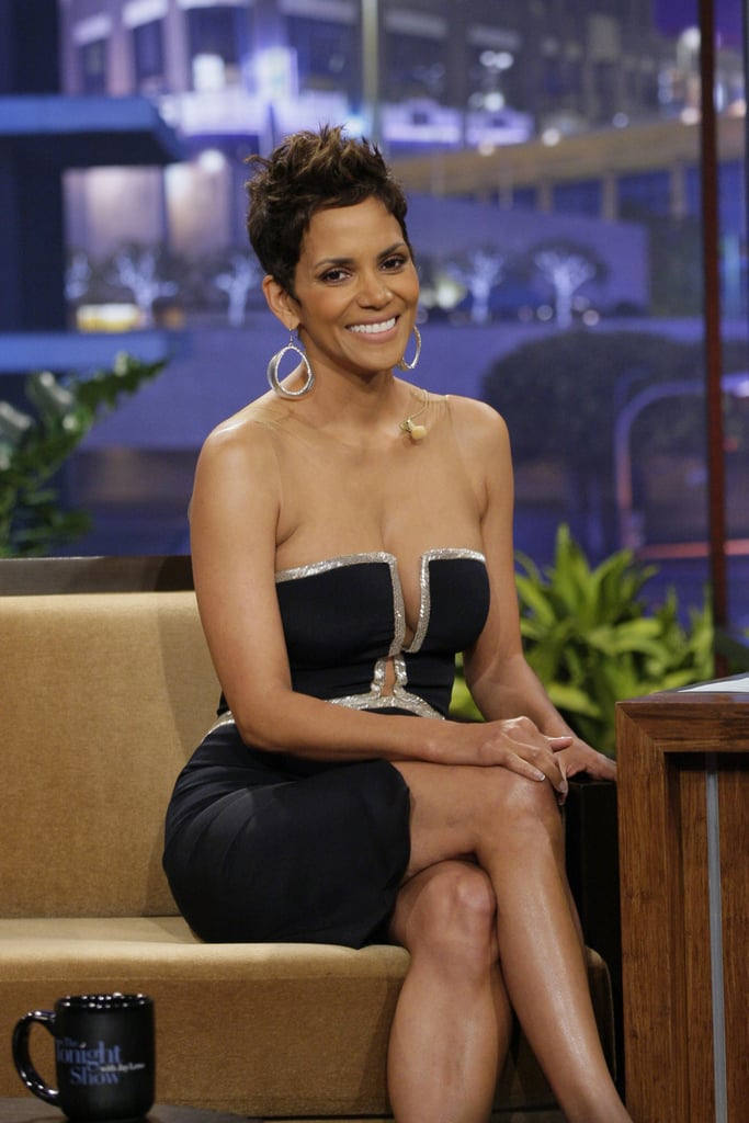 "Halle Berry stopped by The Tonight Show with Jay Leno last night to promote her new thriller, The Call. The actress wore a sexy Reem Acra dress with cutouts — a trend she also donned at the Chicago premiere of her movie last month. Yesterday, talk turned from The Call to another project, when Halle confirmed that she would reprise her role as Storm in X-Men: Days of Future Past. She told Jay, ""It's like family. It's fun to get back together with Hugh and everybody. It's good fun."" Production will begin soon as the film is projected for a Summer 2014 release.  Halle's fans won't have to wait that long to see her on the big screen, as The Call hits theaters Friday. But that's not all she has to celebrate this week. Her daughter, Nahla Aubry, turns 5 on Saturday. Halle told Ryan Seacrest on his radio show this morning that she'd be bringing M&M's with Nahla's face on them as a class treat, then throwing a My Little Pony-themed party over the weekend."