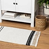 Stripe Bath Rug With Fringe