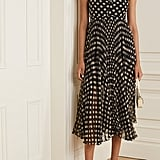 Laura Garcia Georgiana Pleated Polka-Dot Silk-Chiffon Midi Dress