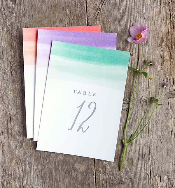 Color-Wash Table Numbers