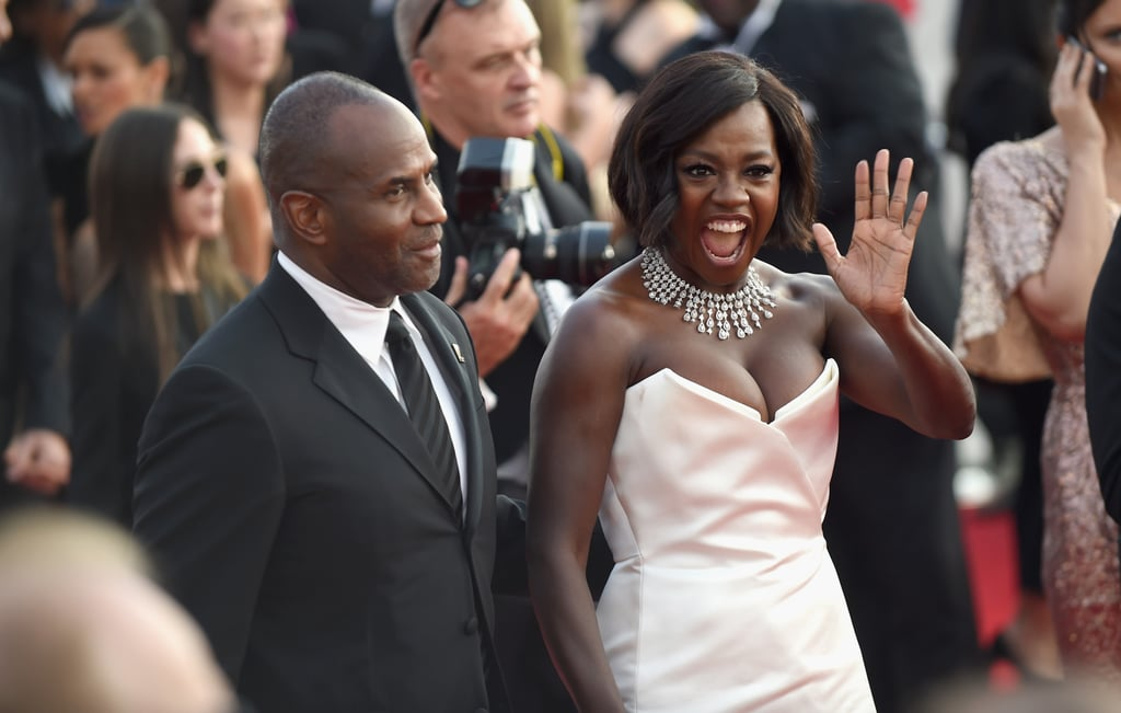Viola Davis shone bright at the SAG Awards on Sunday night. The Fences actress, who is up for outstanding performance by a female actor in a supporting role, showed off her sparkling personality as she hit the red carpet with her husband, Julius Tennon. Not only did she mingle with Westworld's Thandie Newton between interviews, but she also had a little reunion with her The Help costar Bryce Dallas Howard. She truly is the life of the party.       Related:                                                                                                           Viola Davis Just Became the First Black Actress to Receive 3 Oscar Nominations