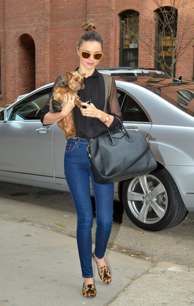 Miranda Kerr whipped out another amazing outfit (do they ever stop coming?) as she took her dog, Frankie, for a walk in New York on November 25.
