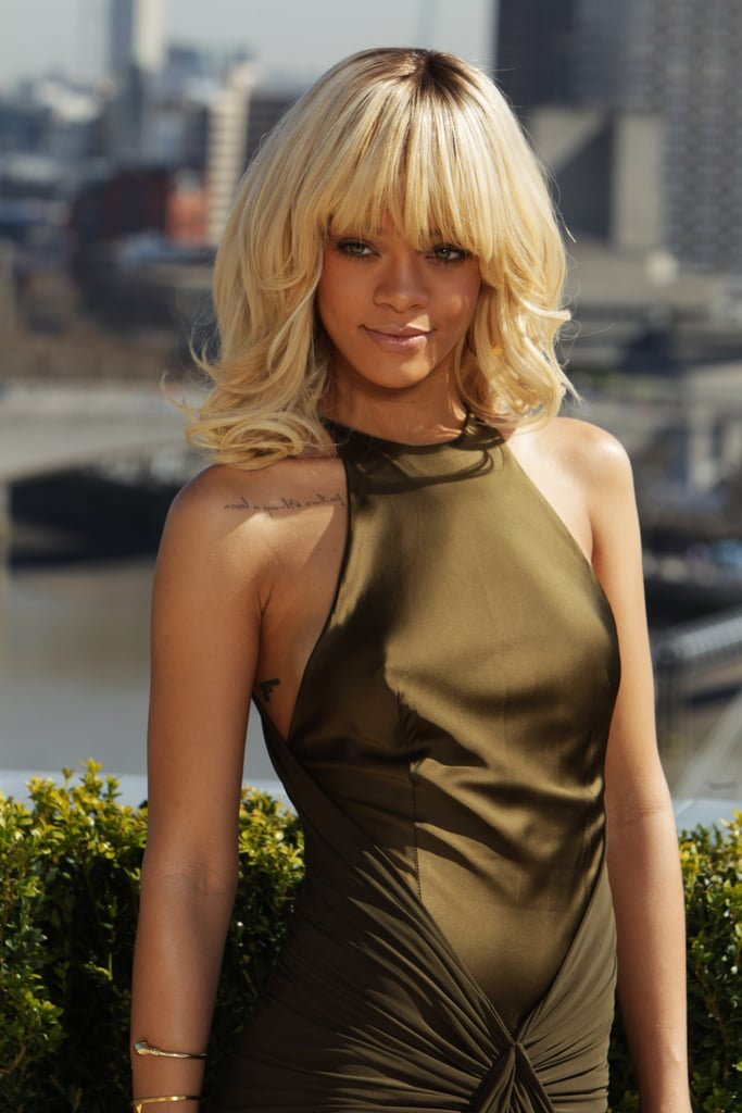 Rihanna wore a green ruched dress to a photocall for Battleship in London.
