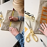 Step 1: Line up the words in the way that you want them to fit on the pillow. Place the letters of each word 1/4 inch apart. By measuring the length of the word and the width of the pillowcase, you can align the word in the center of the pillowcase and tape down the stencils. You will want to measure your rows as well, across the height of the pillowcase so they are evenly spaced, and mark with pencil where the stencils should go.