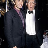 A super young Alec Baldwin stands alongside Anthony Quinn at Regine's 1986 New Year's Eve party.