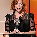 Christina Hendricks wore a black dress with sheer sleeves to the Critics' Choice Television Awards in LA.
