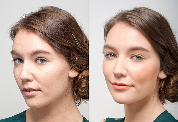 Sweat-proof makeup for day (before and after)