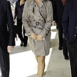 On her way to the house of Sweden for a royal event in April 2012, Madeleine chose a classic trench coat.