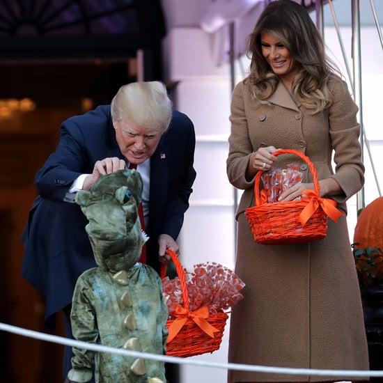 Melania Trump's Bottega Veneta Coat on Halloween 2017