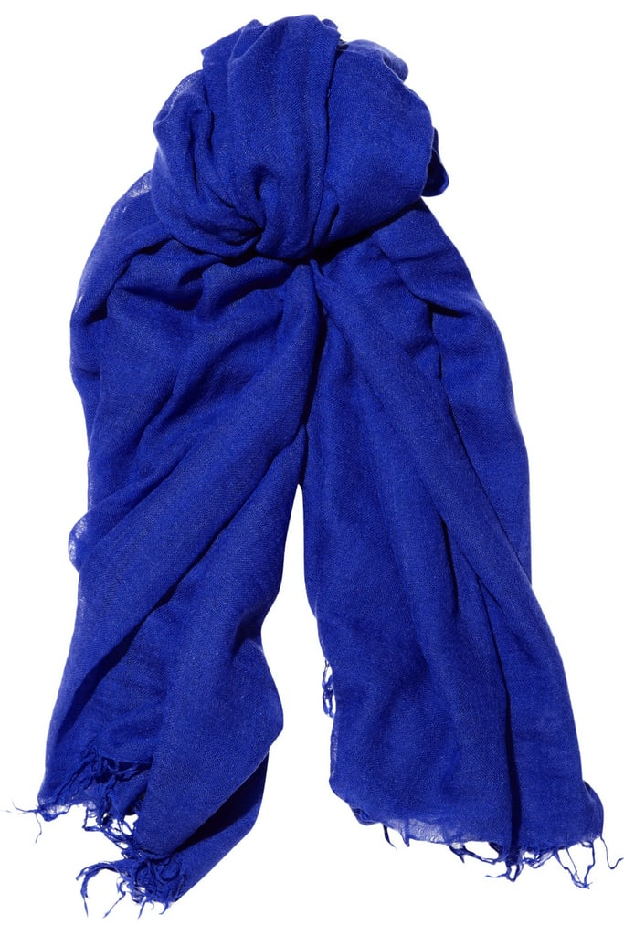 A cobalt scarf, like this one from Chan Luu ($195), is the easiest way to add a jolt of color to any of your Spring ensembles.