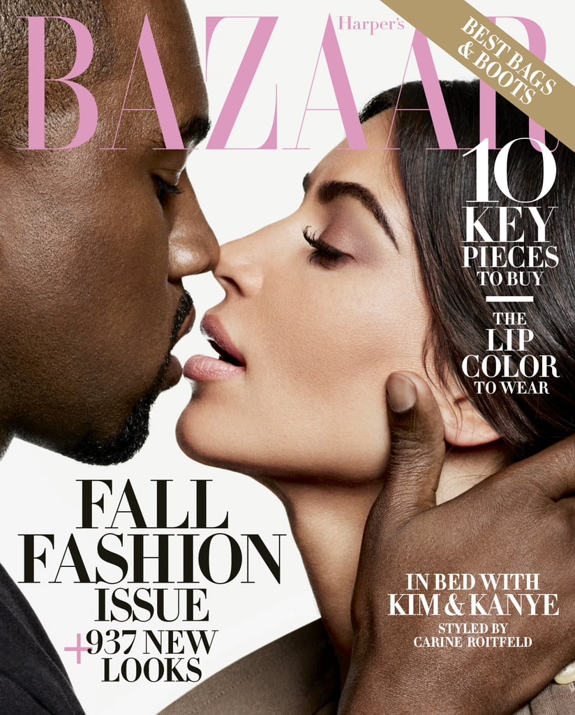 "Two years have passed since Kim Kardashian and Kanye West graced the cover of Vogue, and now the couple is back at it again, this time posing for Harper's Bazaar. In the September 2016 issue, the two wear matching monochromatic looks while Kanye towers over Kim and snaps her photo.  During the joint interview, the duo is unsurprisingly open about fashion and their life together. Kim revealed it was Kanye who took her to her first fashion meeting in Paris and of course, he fell asleep at the table.  ""He can fall asleep anywhere,"" she said to Harper's Bazaar. The conversation then took a turn when Kanye talked about his Yeezy line. Fans will remember the mania surrounding any type of Kanye merch – from his collab with Adidas to his Pablo pieces – so it's no surprise when he revealed that he consistently sells ""40,000 shoes in two minutes,"" or in Kim's opinion, ""one minute."" The two seem to share an affinity for footwear, with Kim revealing that she recently bought a pair of Isabel Marant sandals. ""I don't wear flats, so it's hard for me to buy sandals,"" she said about her shoe struggles. Given her collection of trend-setting heels, we totally believe her. Ahead, see more photos from their sexy shoot with Karl Lagerfeld and then check out the couple's style throughout the years."
