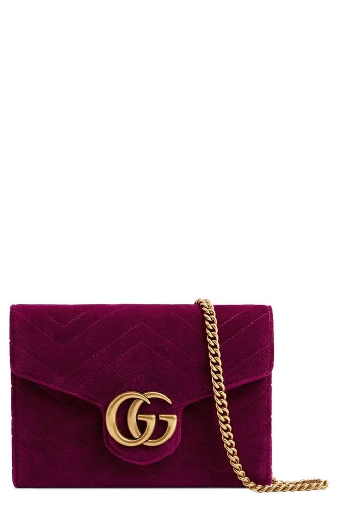 1e3aea04dba Gucci GG Marmont 2.0 Matelassé Velvet Wallet on Chain