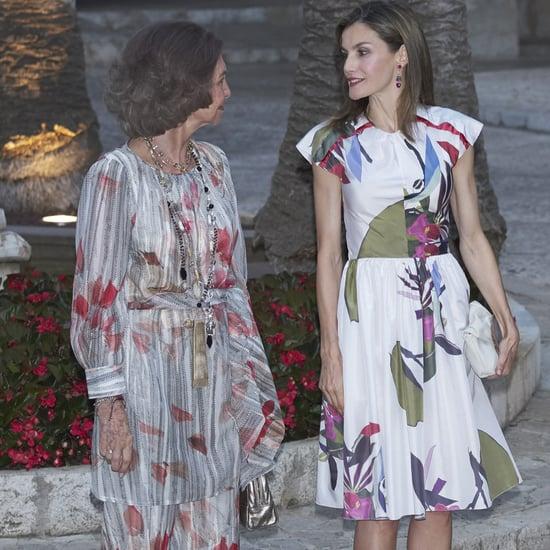 Queen Letizia's Juan Vidal Ikebana Print Dress August 2016
