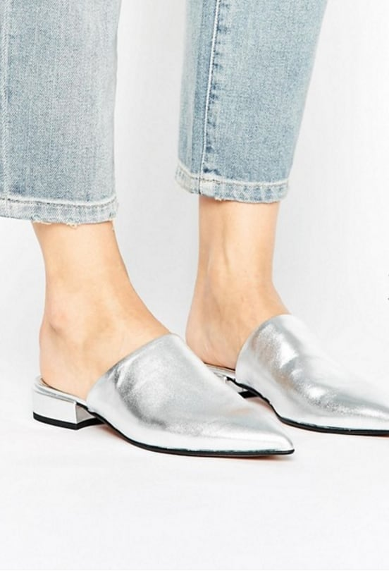 River Island Pointed Leather Slip On Shoes