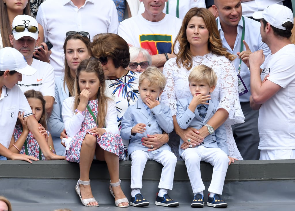 Mirka Federer With Children Myla, Charlene, Leo and Lenny at Day 13 of Wimbledon