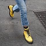 Gigi Hadid Yellow Doc Marten Boots