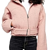 Topshop Miller Wool Blend Hooded Moto Jacket