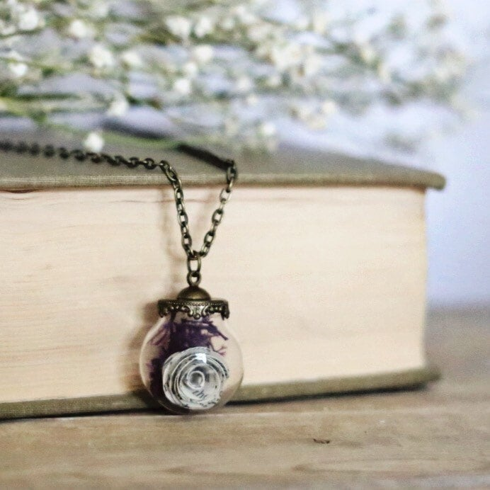 Book Page Terrarium Necklace