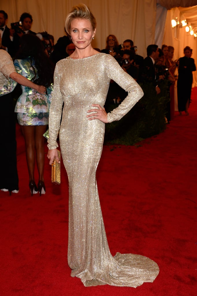 Cameron Diaz looked stunning a shiny beaded Stella McCartney gown for the Met Gala.