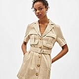 Bershka Belted Linen Blazer-Style Dress