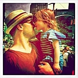 Tiffani Thiessen caught Harper giving her daddy an Eskimo kiss.  Source: Instagram user tathiessen