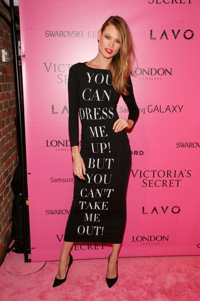 Behati Prinsloo opted for a statement-making (literally!) dress.