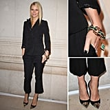 The look: For a more classic nighttime feel, take cues from Gwyneth's ultrasophisticated suit-inspired look. She wore a Louis Vuitton pre-Fall 2012 satin-lapel blazer and cropped trouser combo to the Louis Vuitton-Marc Jacobs: The Exhibit opening. But to keep her ensemble fresh, she accessorized with an emerald-encrusted cuff bracelet and Louis Vuitton studded cap-toe pumps.  Key pieces: A tuxedo-inspired blazer, cropped trousers, and a dynamic pair of pumps.