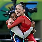 When Simone Biles won gold and grabbed Aly Raisman, who won silver, to join her on the podium.