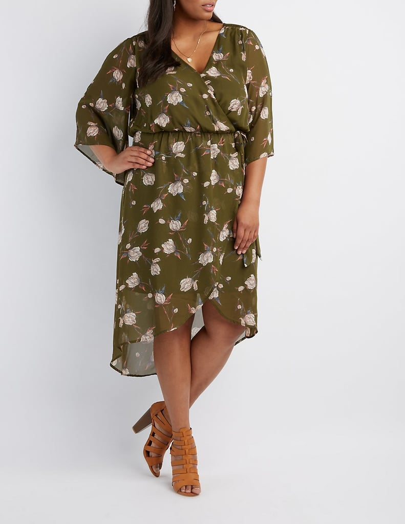 Charlotte Russe Plus Size Floral Surplice Kimono Dress