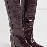 Tibi Rowan Glossed Croc Effect Leather Knee Boots