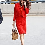 In 2017, Amal looked like the ultimate power woman in a red suit. She wore Salvatore Ferragamo pumps and carried a Dolce & Gabbana tote.