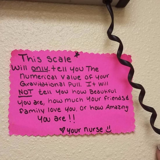 Nurse's Note Above Scale About Weight Loss