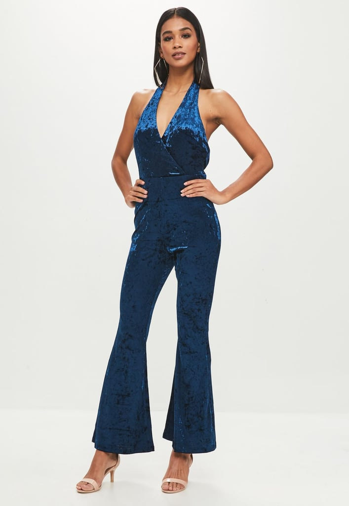f1caccf1792 Missguided Petite Blue Velvet Jumpsuit